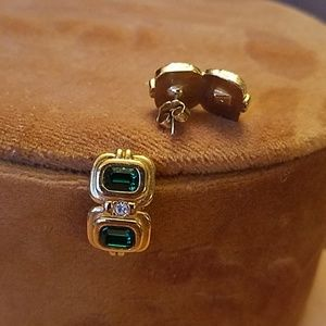 Vintage Avon gold and emerald earrings